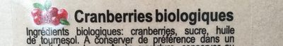 Cranberries - Ingrédients