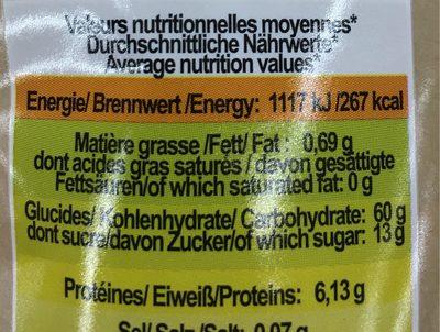 Mini figues bio - Informations nutritionnelles