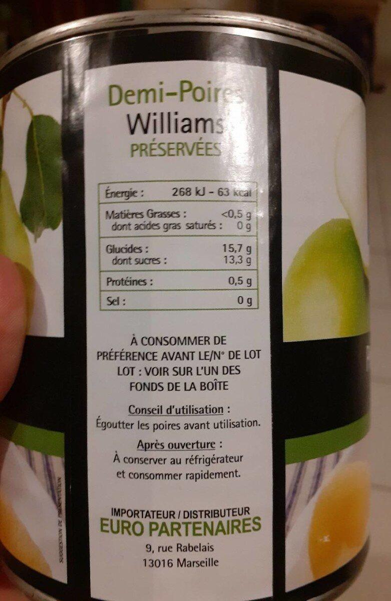 Poire williams au sirop léger - Informations nutritionnelles - fr