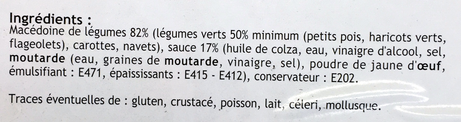 Macédoine de Légumes - mayonnaise - Ingredients - fr