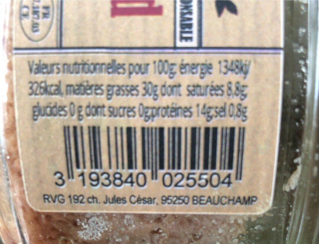 Rillettes pur canard - Informations nutritionnelles - fr