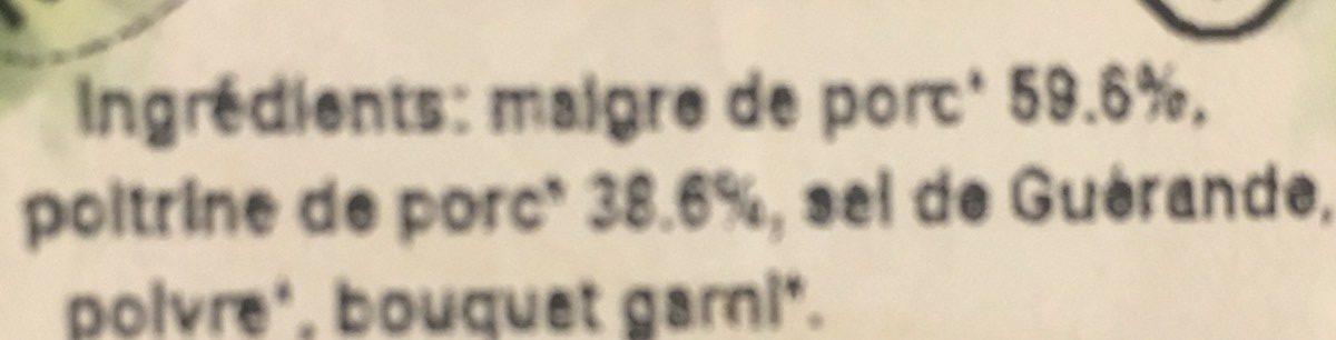 Rillettes pur porc - Ingrediënten