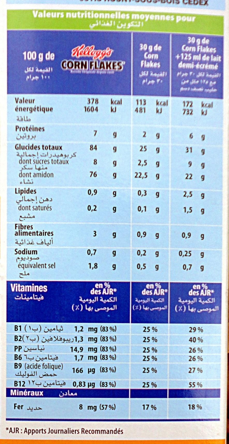Corn Flakes Kellogg's - Voedigswaarden