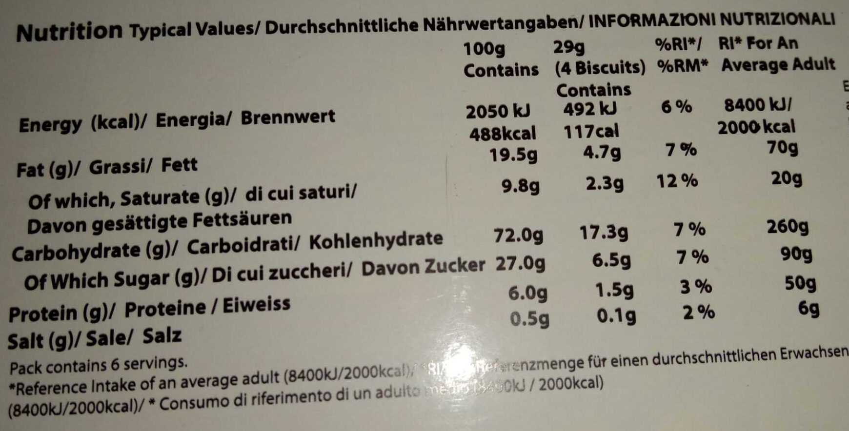 Tea Time Biscuit Assortiment - Informations nutritionnelles - fr