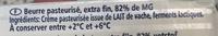 PLAQUETTE 250G DOUX - Ingredients
