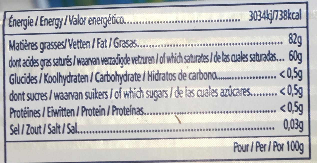PLAQUETTE 250G DOUX - Nutrition facts