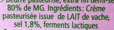 Beurre de Baratte d'Excellence Demi-Sel AOP - Ingrédients - fr