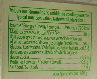 Beurre de Baratte d'Excellence Demi-Sel AOP - Informations nutritionnelles