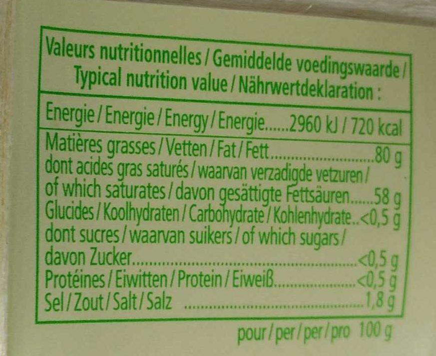 Beurre de Baratte d'Excellence Demi-Sel AOP - Informations nutritionnelles - en