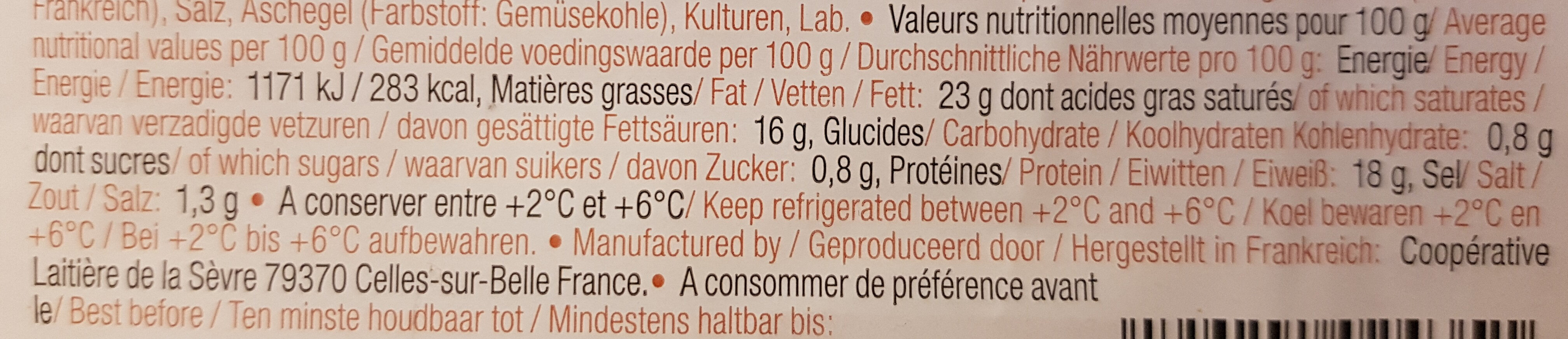 La cabriquette cendrée - Valori nutrizionali - fr