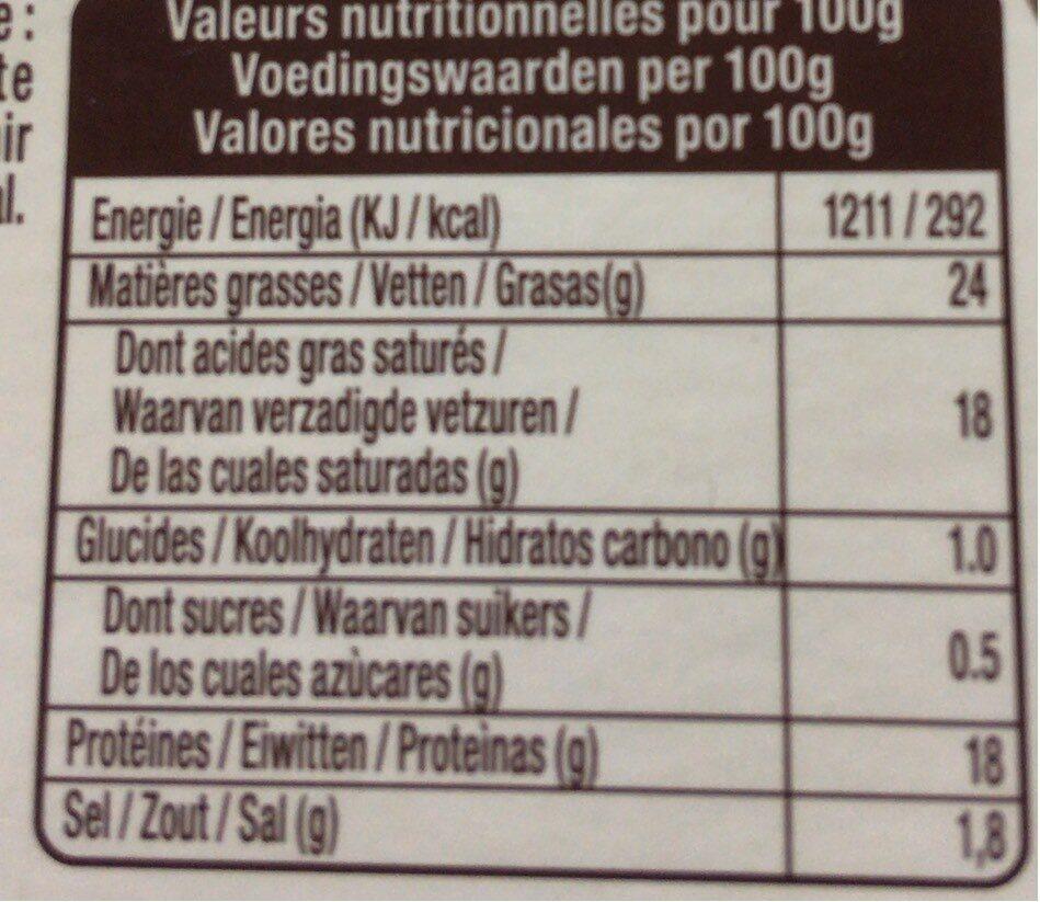 Le petit chevrot au lait cru - Informations nutritionnelles - fr