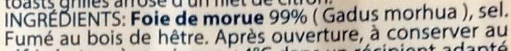 Foie de Morue Goût Fumé - Ingrédients