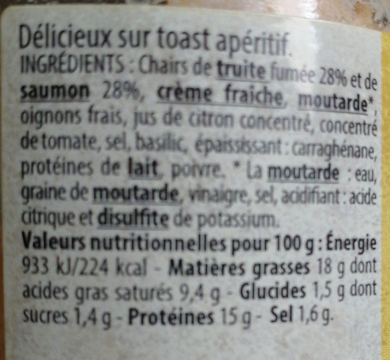 Rillettes de truite fumée - Ingrédients - fr
