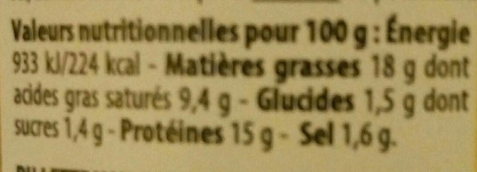 Rillettes de truite fumée - Informations nutritionnelles - fr