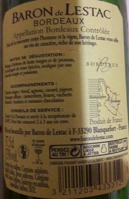 vin de Bordeaux 2016 - Ingredients