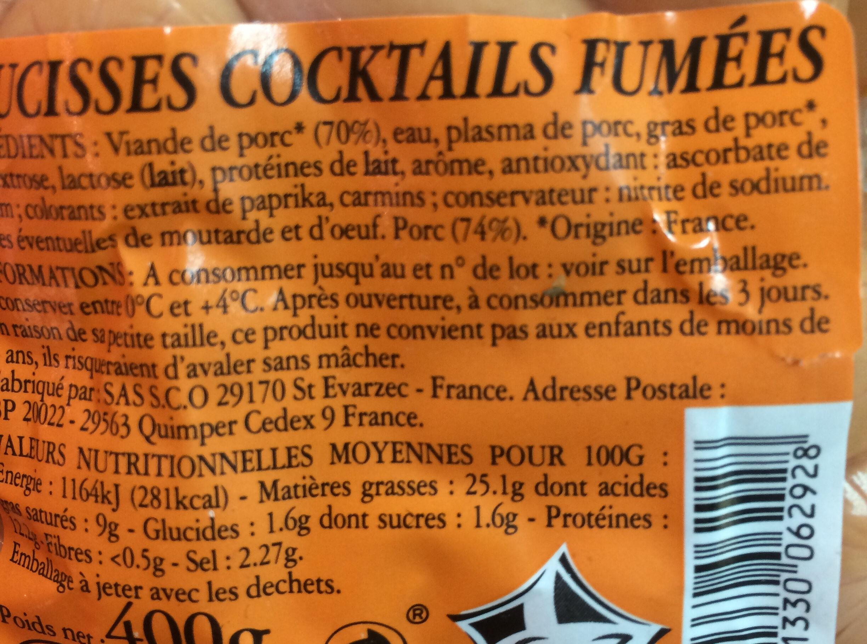 saucisses cocktail fumé - Ingredients - fr
