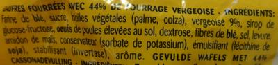 Gaufres Fourrées Vergeoise - Ingredients - fr
