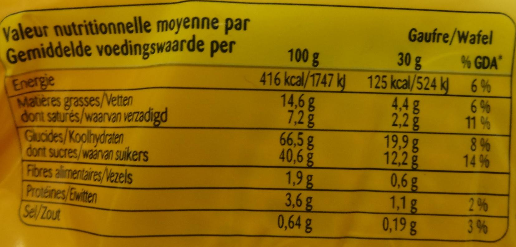 Gaufres Fourrées Vergeoise - Nutrition facts - fr