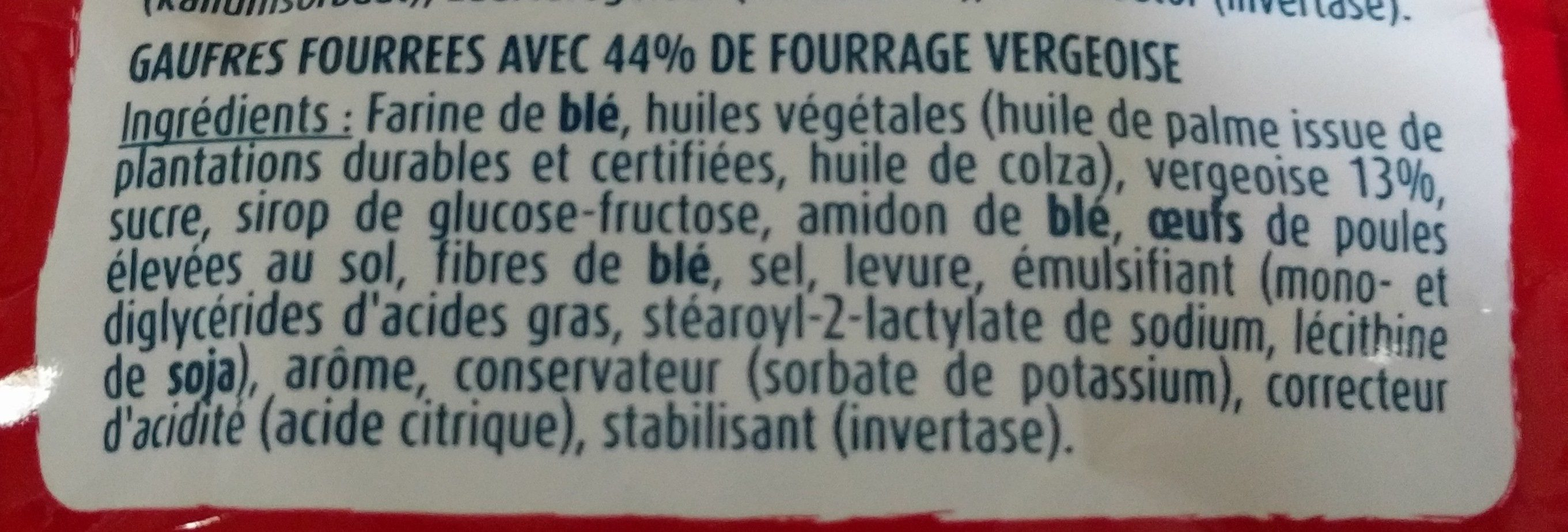 Gaufres vergeoise - Ingrediënten - fr