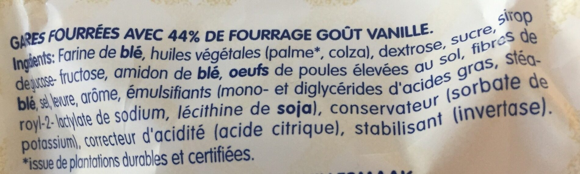 Gaufres fourrees - Ingrediënten - fr