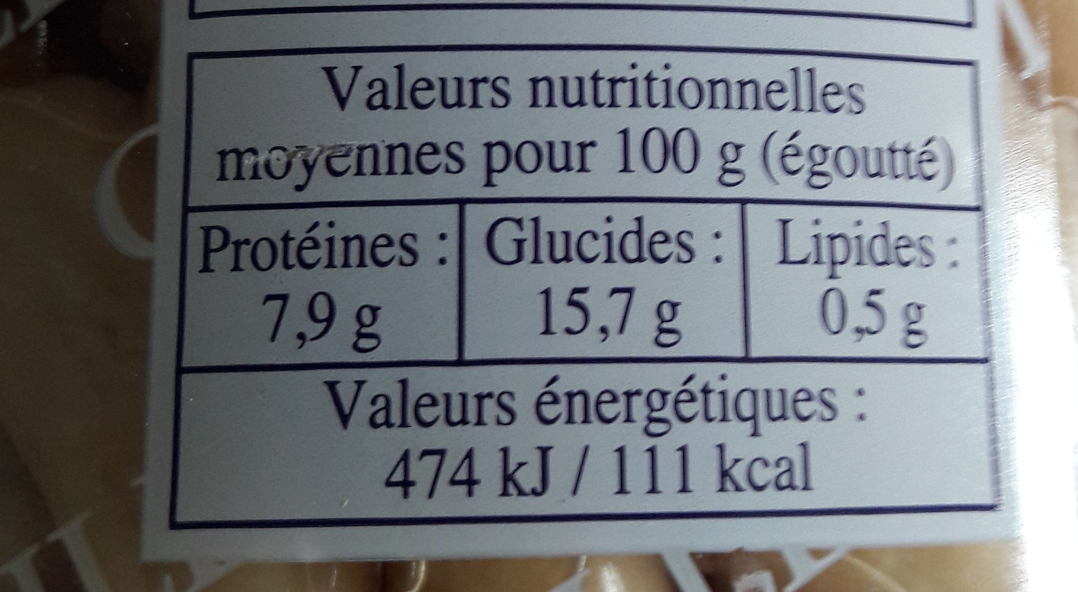 "Haricots blancs ""Mogettes"" - Informations nutritionnelles - fr"