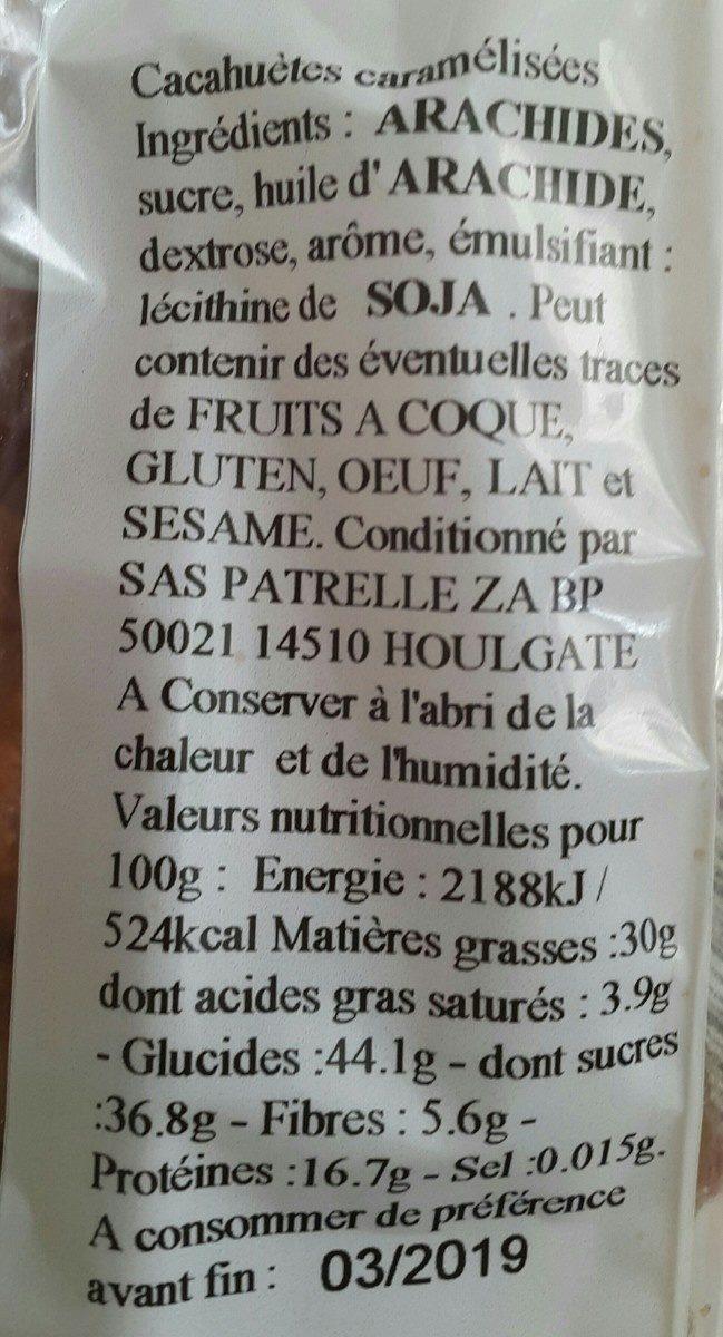 Cacahuètes caramélisées - Ingrediënten - fr
