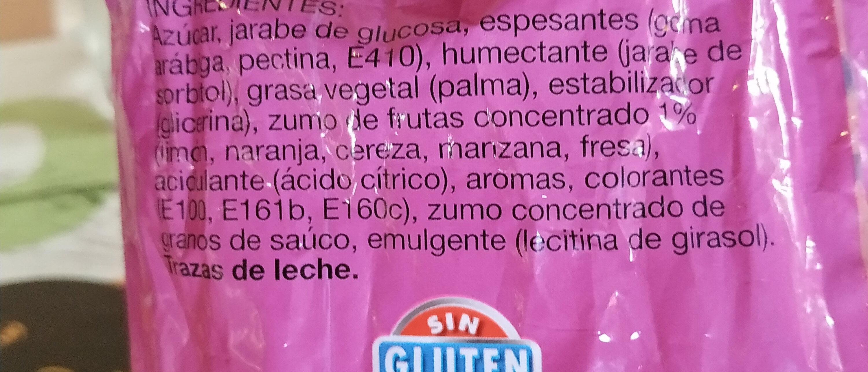 Caramelos blandos rellenos - Ingredientes