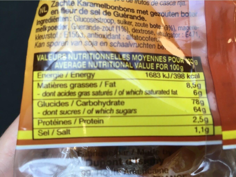 Caramels au beurre salé et à la fleur de sel de guérande - Voedingswaarden