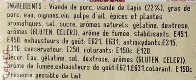 Pâté de Lapin - Ingrediënten - fr