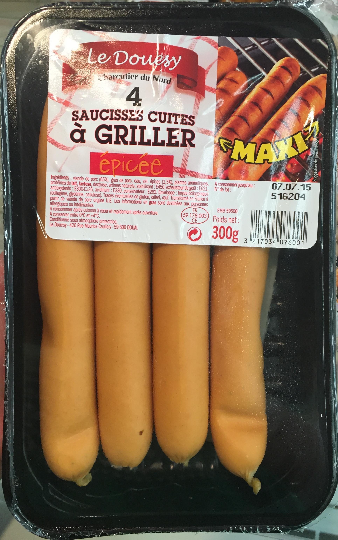 4 Saucisses cuites à griller épicée - Product - fr