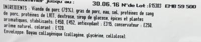Cervelas Melona x4 S/AT - Ingrediënten - fr