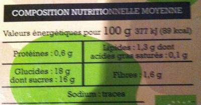 Spécialité de pomme madeleine - Informations nutritionnelles - fr