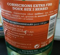 Cornichons extra fin vinaigre doux aux 3 herbes - Ingrediënten