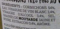 Le Petit Cornichon Français à l'Estragon - Ingrédients - fr
