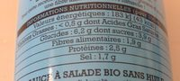 Sauce crudites sans huile - Nutrition facts