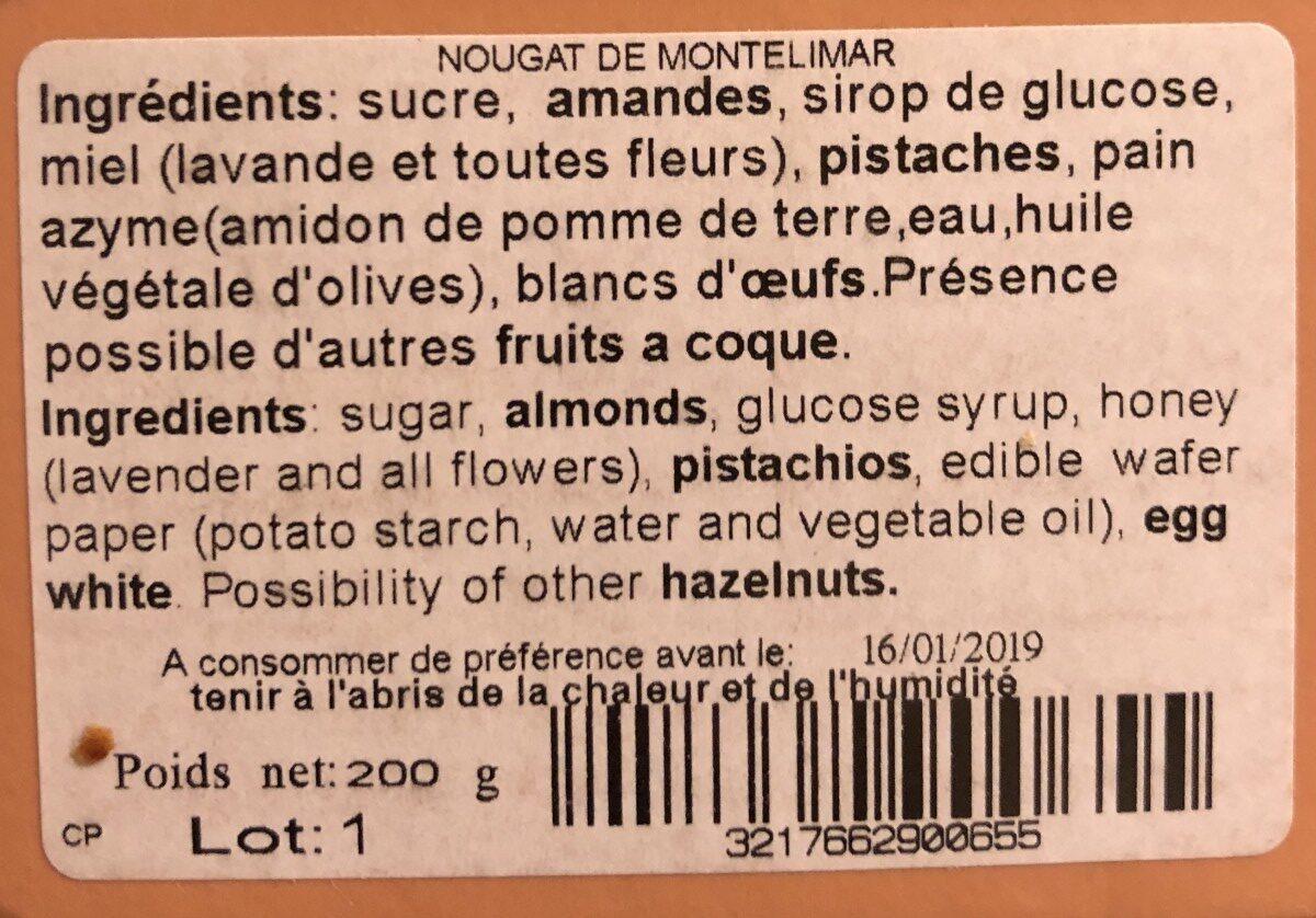 Nougats de Montelimar - Ingrédients