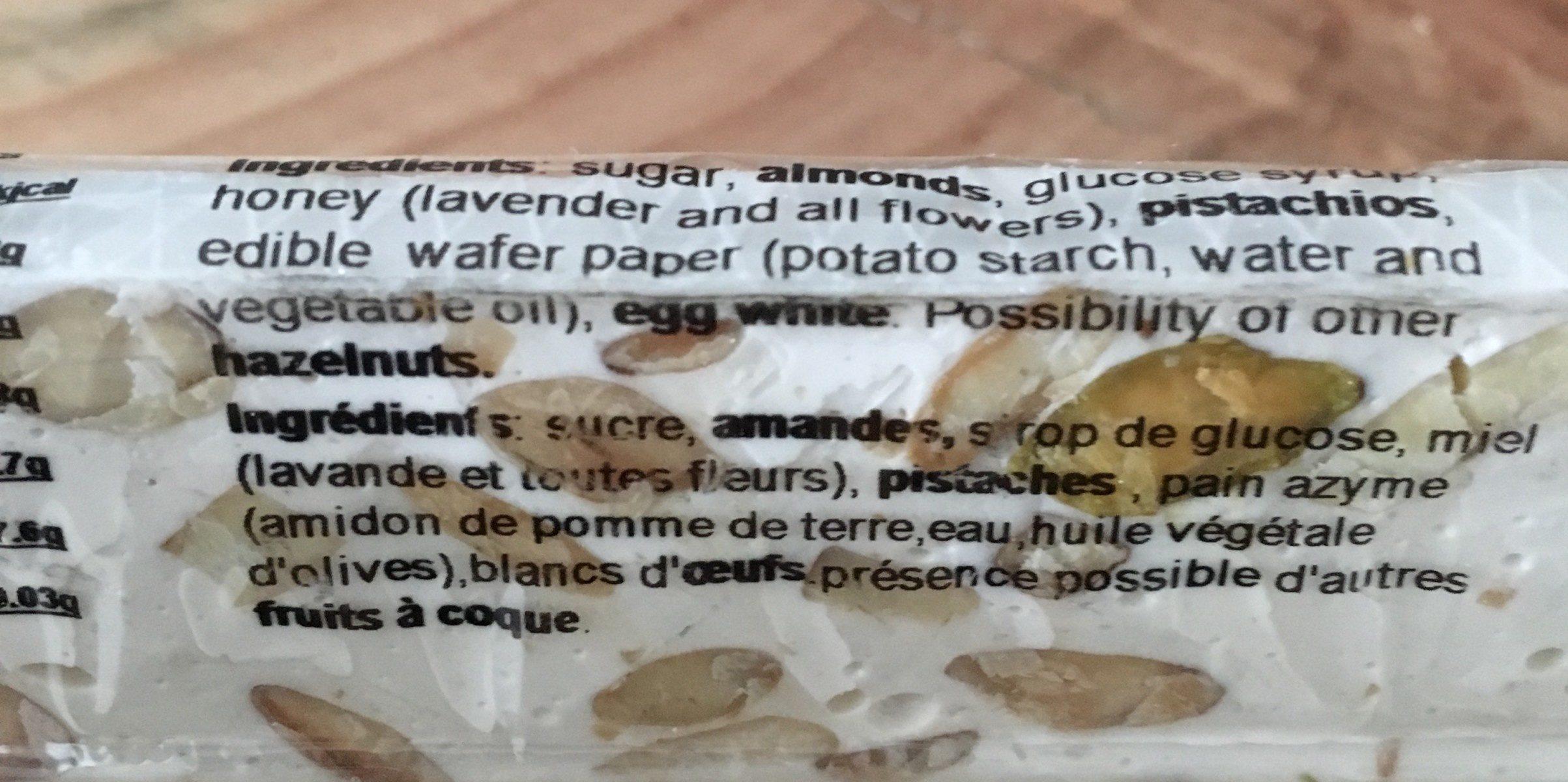 Nougats de montelimar - Ingrédients - fr