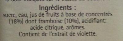 Sirop Framboise Violette - Ingredients - fr