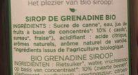 Grenadine Bio - Ingrédients