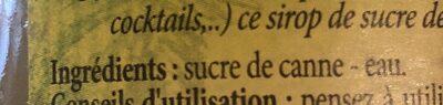 Sirop De Sucre De Canne - Ingrediënten - fr