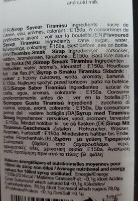 Sirop Saveur Tiramisu - Ingrédients