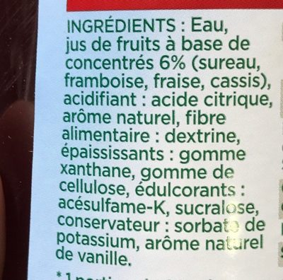 Sirop grenadine 0% - Ingrédients