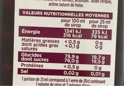Sirop fraise pur sucre de canne - Voedingswaarden - fr