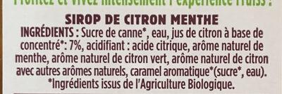 Fruiss Bio citron Menthe - Ingredients