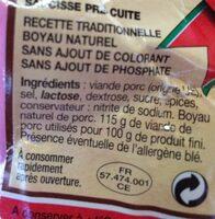 Saucisse a cuire - Ingrédients