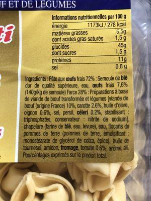 Pâtes Fraîches Les Succulents, Cappelletti Boeuf Légumes - Ingredients