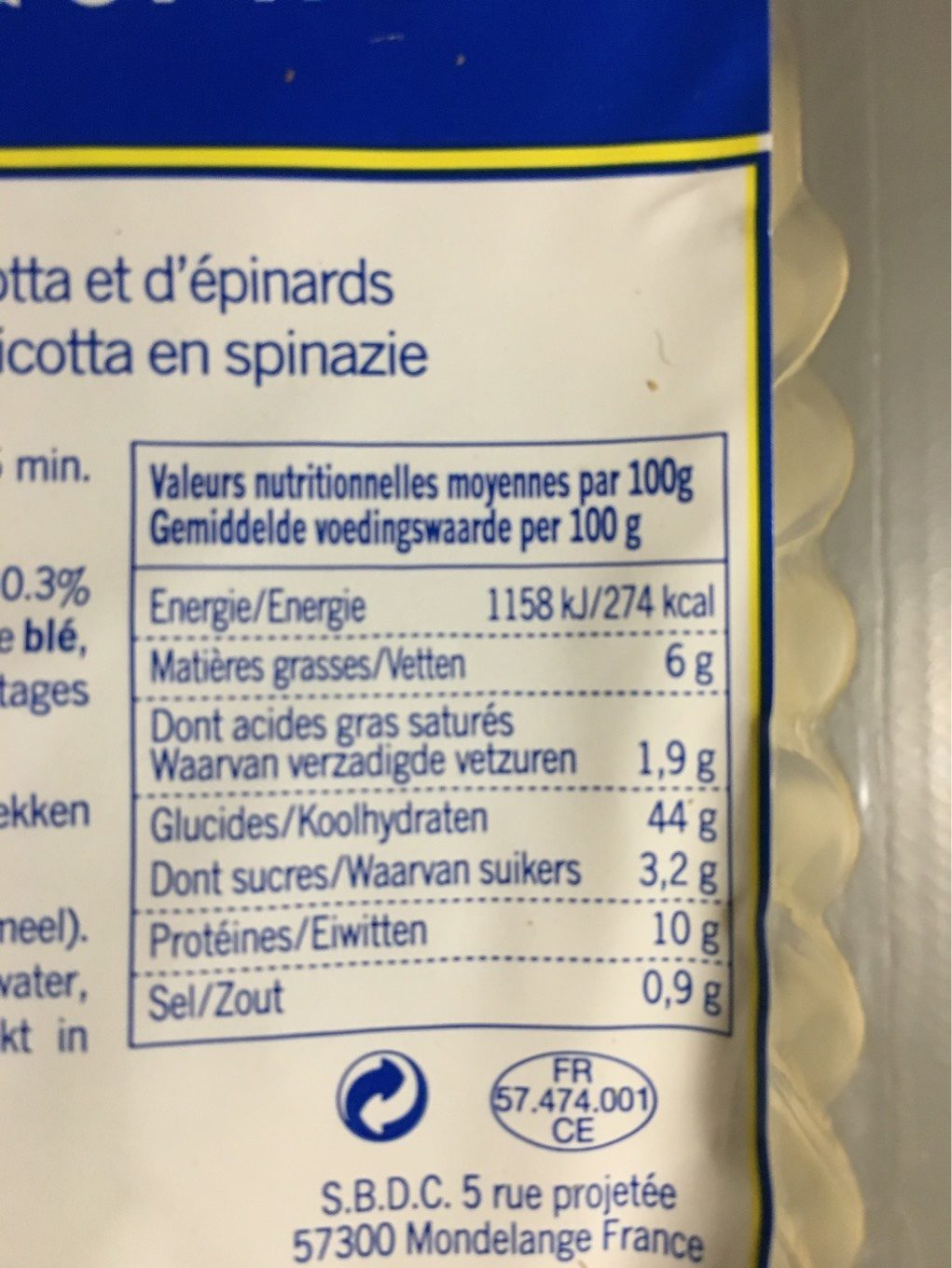 Tortelloni ricotta & Spinaci - Nutrition facts