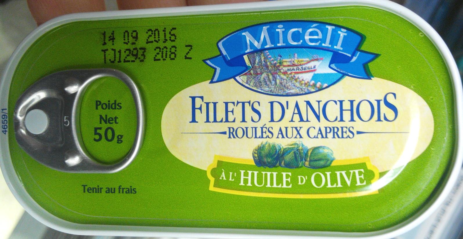 Filets d'anchois roulés aux câpres à l'huile d'olive - Product