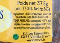 Fillets d'anchois allongés à l'huile d'olive - Ingredients - fr