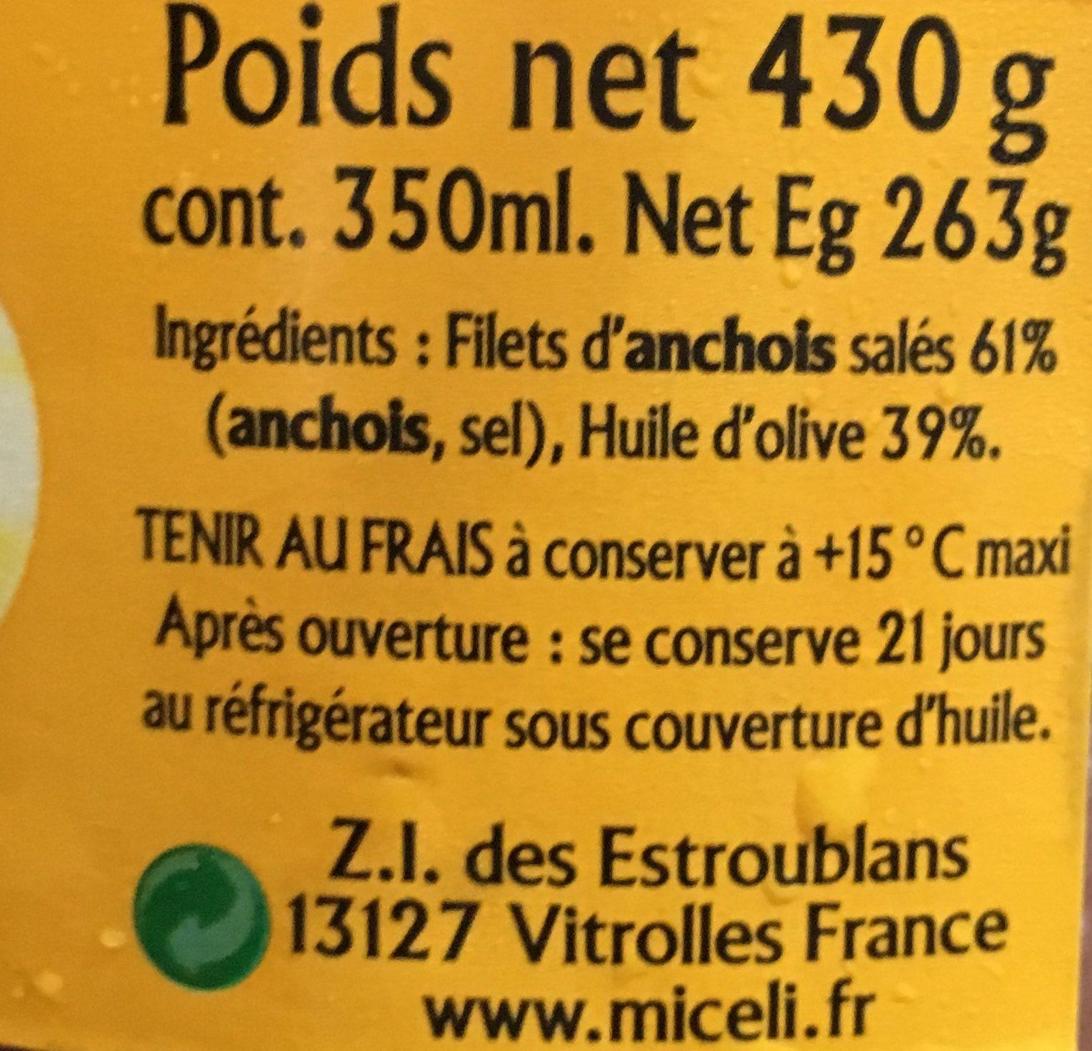 Filet d'anchois allongés à l'huile d'olive - Ingredients - fr